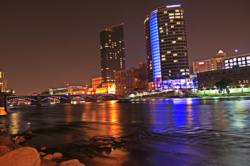 Grand River at night